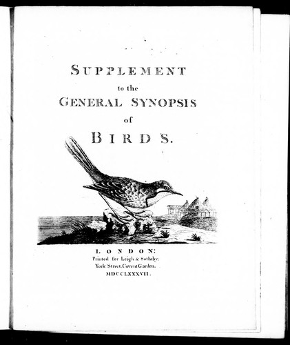 Supplement to the General synopsis of birds