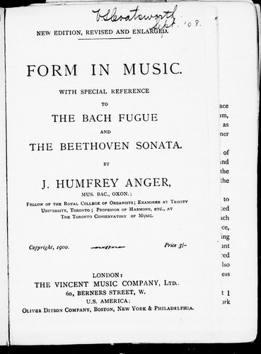 Download Form in music, with special reference to the Bach fugue and the Beethoven sonata