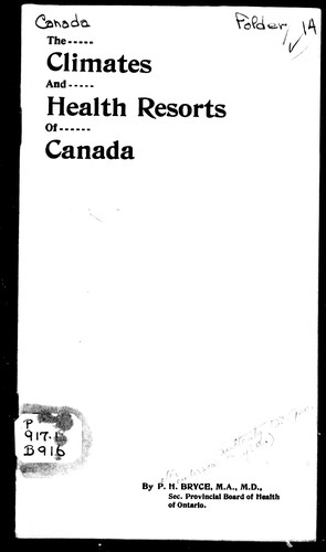 Climates and health resorts of Canada