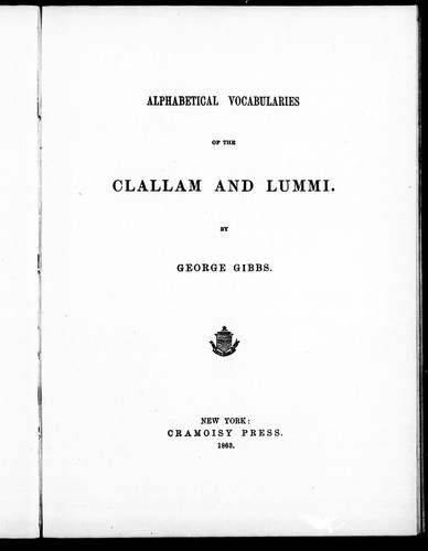 Download Alphabetical vocabularies of the Clallam and Lummi