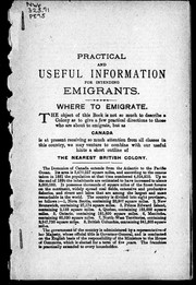 Practical and useful information for intending emigrants PDF