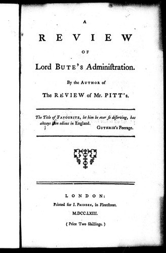 Download A review of Lord Bute's administration