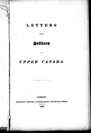 Letters from settlers in Upper Canada PDF