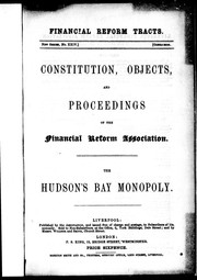 Constitution, objects and proceedings of the Financial Reform Association PDF
