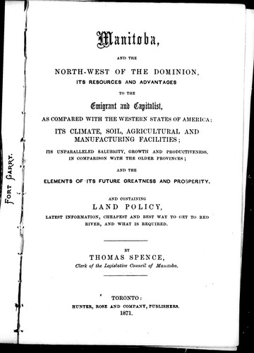 Download Manitoba, and the north-west of the Dominion