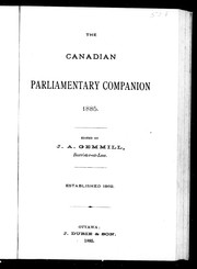 Cover of: The Canadian parliamentary companion, 1885