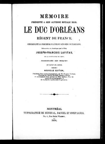 Download Mémoire présenté à Son Altesse Royale Mgr. le duc d'Orléans, régent de France