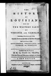 The history of Louisiana, or of the western parts of Virginia and Carolina PDF
