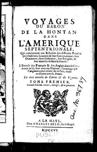 Voyages du baron de La Hontan dans l'Amérique Septentrionale