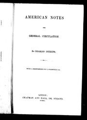 Cover of: American notes for general circulation by Charles Dickens