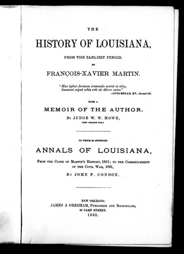 Download The history of Louisiana from the earliest period