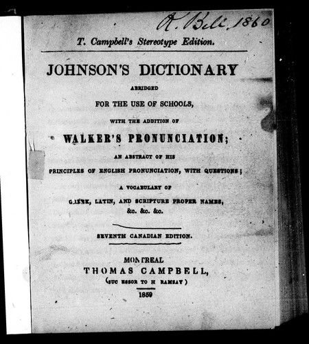 Johnson's dictionary by Samuel Johnson