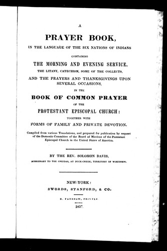 A prayer book, in the language of the Six Nations of Indians