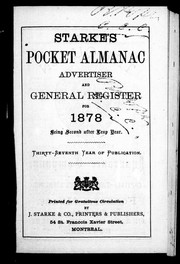 Starke&#39;s pocket almanac, advertiser and general register for 1878 by 
