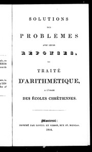 Solutions des problmes avec leur rponses, du trait d&#39;arithm tique by 