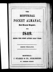 The Montreal pocket almanac and general register for 1849 by 