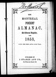 The Montreal pocket almanac and general register for 1853 by 