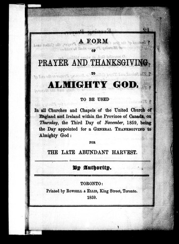 A Form of prayer and thanksgiving to Almighty God