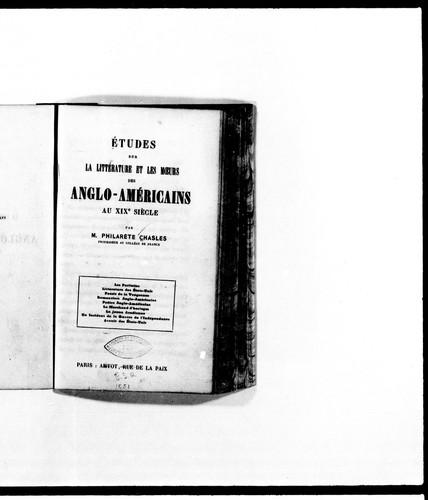 Études sur la littérature et les moeurs des Anglo-Américains au XIXe siècle