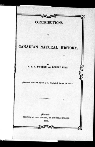 Contributions to Canadian natural history