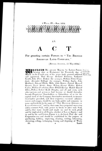 An Act for granting certain powers to the British American Land Company by Great Britain. Department of Economic Affairs.