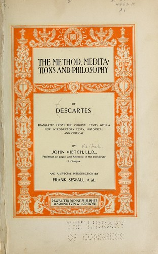 Download The method, meditations and philosophy of Descartes