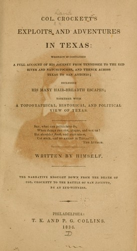 Download Col. Crockett's exploits and adventures in Texas