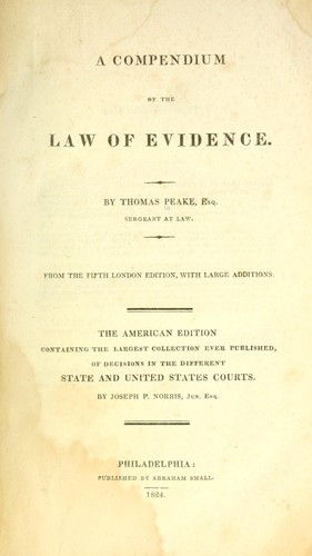 A compendium of the law of evidence
