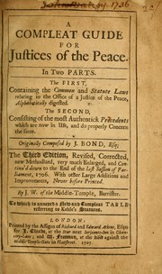 Cover of: A compleat guide for justices of the peace by J. Bond