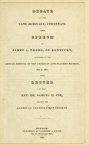 Debate at the Lane seminary, Cincinnati PDF