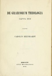 De graecorum theologia capita duo by Reinhardt, Karl
