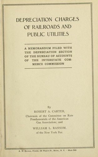 Depreciation charges of railroads and public utilities