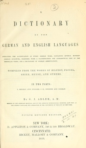 A dictionary of the German and English languages.