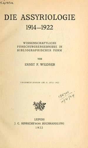Download Die Assyriologie, 1914-1922