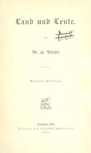 Die Naturgeschichte des Volkes als Grundlage einer deutschen Sozial-Politik