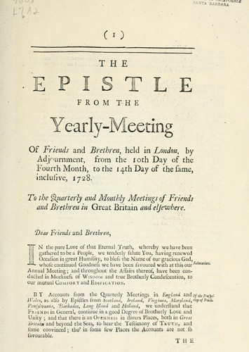 The epistle from the Yearly meeting held in London