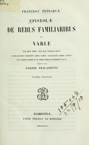 Epistolae de rebus familiaribus et variae by Francesco Petrarca