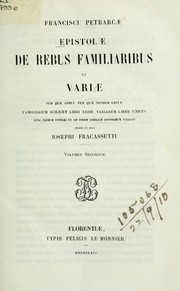 Cover of: Epistolae de rebus familiaribus et variae by Francesco Petrarca