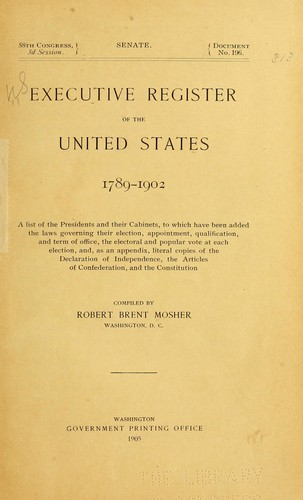 Download Executive register of the United States, 1789-1902 …