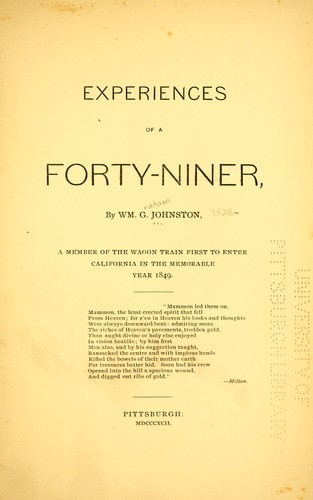 Download Experiences of a forty-niner