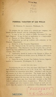 Federal taxation of gas wells.