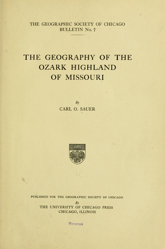 Download The geography of the Ozark highland of Missouri