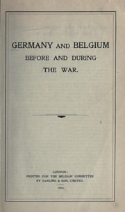 Germany and Belgium before and during the war PDF