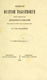 Glossulae quatuor magistrorum super Chirurgiam Rogerii et Rolandi PDF