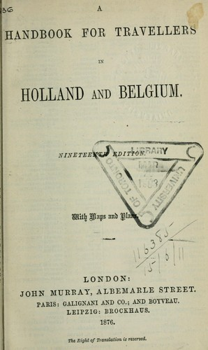 Handbook for travellers in Holland and Belgium by