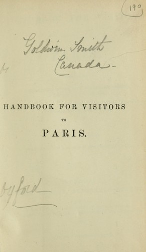Handbook for visitors to Paris by