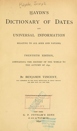 Download Haydn's dictionary of dates and universal information relating to all ages and nations.