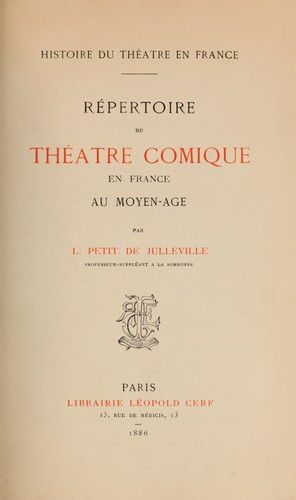 Histoire du théatre en France.