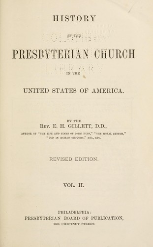 Download History of the Presbyterian Church in the United States of America