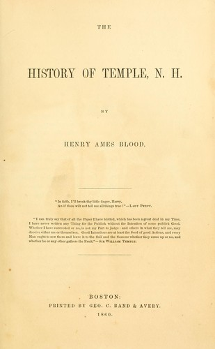 Download The history of Temple, N. H.